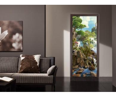 Наклейка на дверь Водопад и деревья
