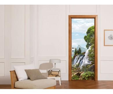 Наклейка на дверь Шумный водопад