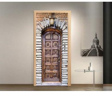 Наклейка на дверь Дверь и каменная арка