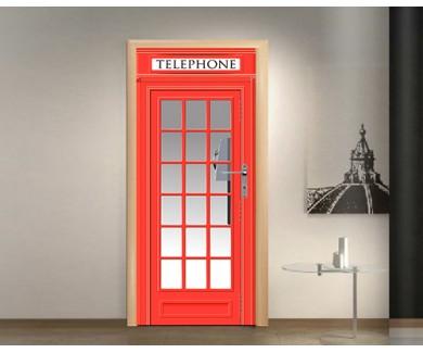 Наклейка на дверь Красная телефонная будка