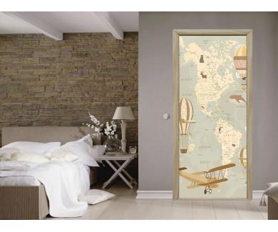 Наклейка на дверь Карта в ретро стиле