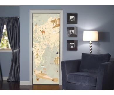 Наклейка на дверь Карта в ретро стиле  2