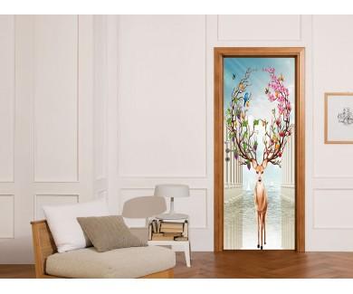 Наклейка на дверь Колонны и олень