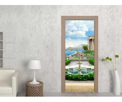 Наклейка на дверь Вид на море с фонтаном