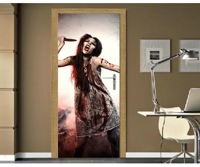 Наклейка на дверь Девушка зомби