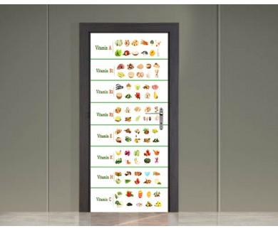Наклейка на дверь Коллаж из  продуктов, содержащих витамины