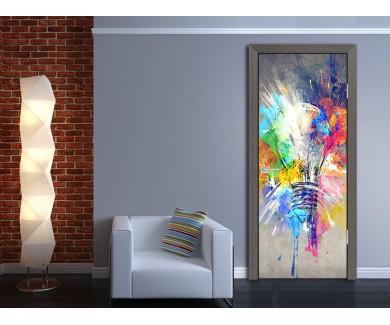 Наклейка на дверь Краски жизни