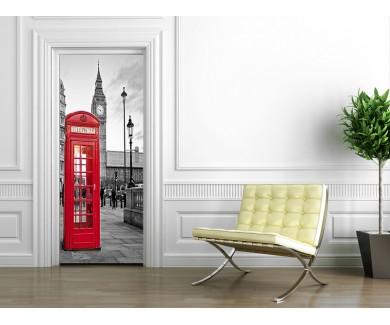Наклейка на дверь Красная телефонная будка, Лондон