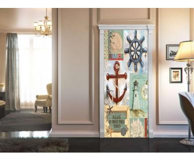 Наклейка на дверь Морская тема