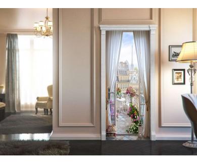 Наклейка на дверь Красивый вид из комнаты