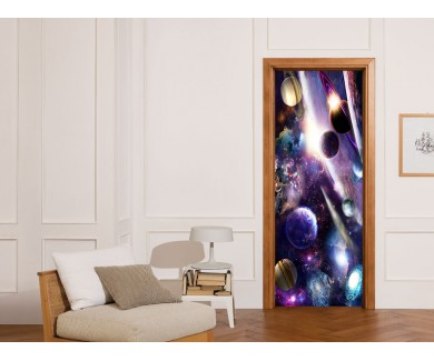 Наклейка на дверь Парад планет