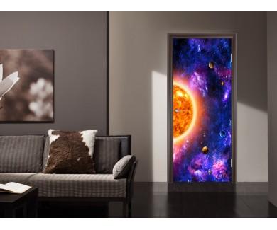 Наклейка на дверь Солнце и планеты