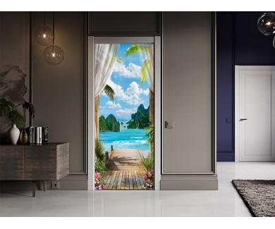 Наклейка на дверь Мостик к морю