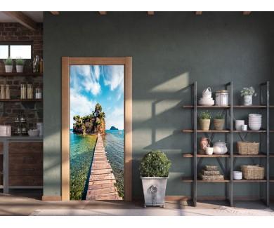 Наклейка на дверь Мост солнечным утром