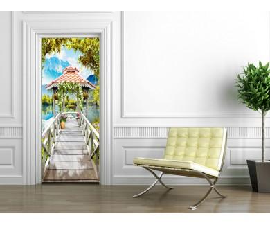 Наклейка на дверь Фреска выход к озеру