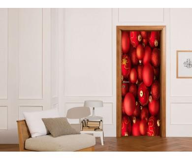 Наклейка на дверь Новогодние шары