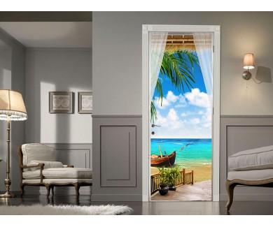 Наклейка на дверь Вид из окна на море