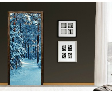 Наклейка на дверь Зимний лес