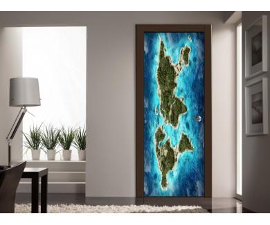 Наклейка на дверь Карта с горами, океанами и лесами