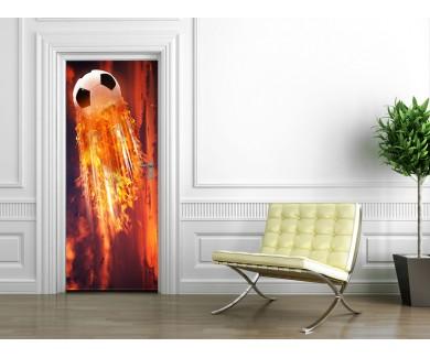 Наклейка на дверь Огненный мяч
