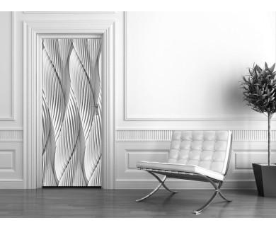 Наклейка на дверь Абстрактные изогнутые линии