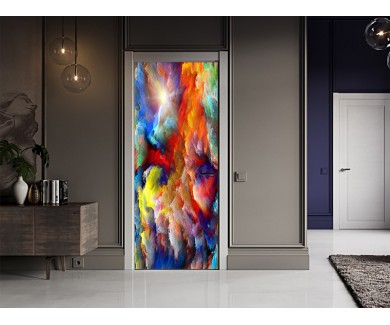 Наклейка на дверь Буйство красок