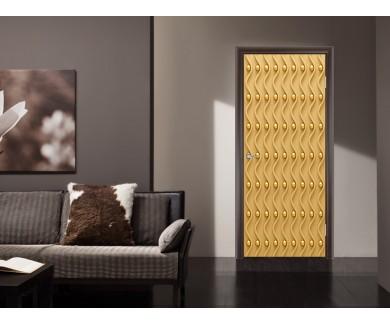 Наклейка на дверь Волны и золотые шары