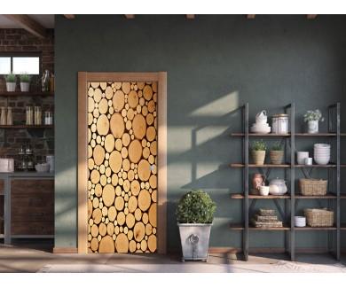 Наклейка на дверь Деревянный фон