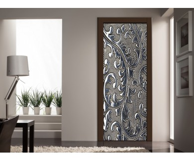Наклейка на дверь Железный блестящий узор