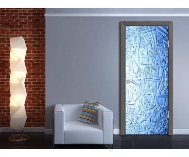 Наклейка на дверь Иней на стекле