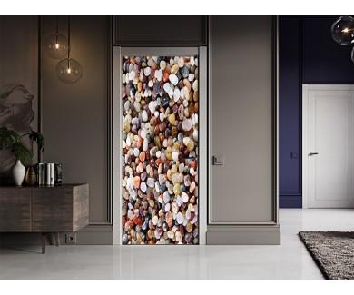 Наклейка на дверь Камни различных форм и цветов