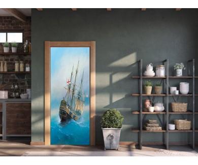 Наклейка на дверь Парусное судно 19-го века