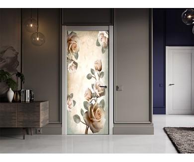 Наклейка на дверь Белые розы в китайском стиле