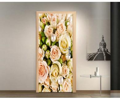 Наклейка на дверь Белые розы и жемчуг
