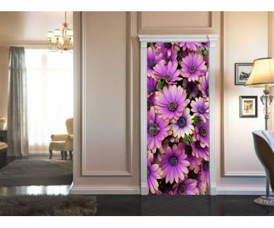 Наклейка на дверь Букет фиолетовых африканских ромашек