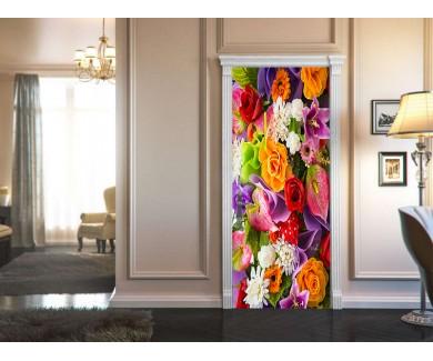 Наклейка на дверь Искусственные цветы