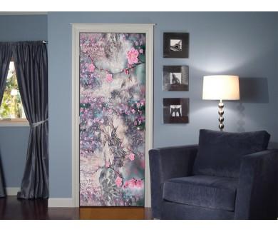 Наклейка на дверь Композиция с цветами сакуры
