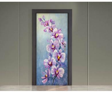 Наклейка на дверь Орхидея живопись
