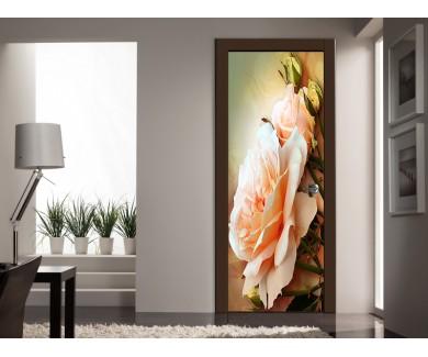 Наклейка на дверь Розы, живопись