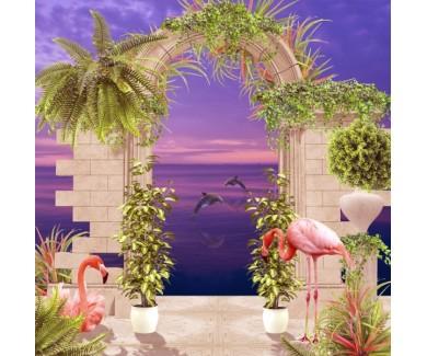 Фотообои Арка и розовый фламинго вечером