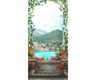 Фотообои Арка из цветов на фоне гор