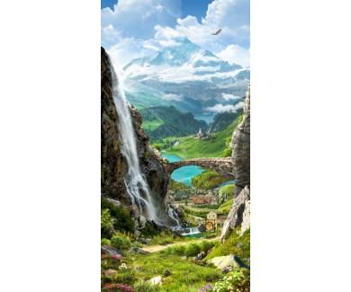 Фотообои Вид на гору и водопад