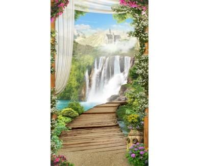 Фотообои Вид на деревянный мост на водопад и замок
