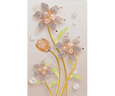 Фотообои Красивый цветок на фоне декоративного рисунка