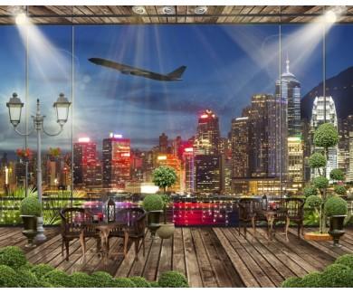 Фотообои Вид на ночной город из кафе
