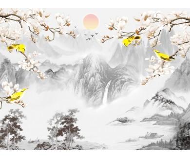 Фотообои Желтые птицы на фоне гор