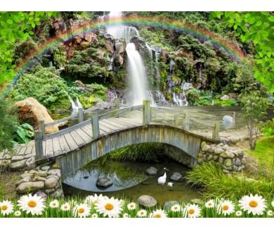Фотообои Мост у водопада