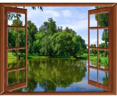 Фотообои Вид из окна на лесное озеро