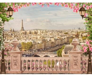 Фотообои Вид на Париж в розовых тонах