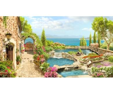 Фотообои Водопад в саду